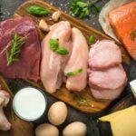 Dierlijke voedingsmiddelen zoals vlees en kaas