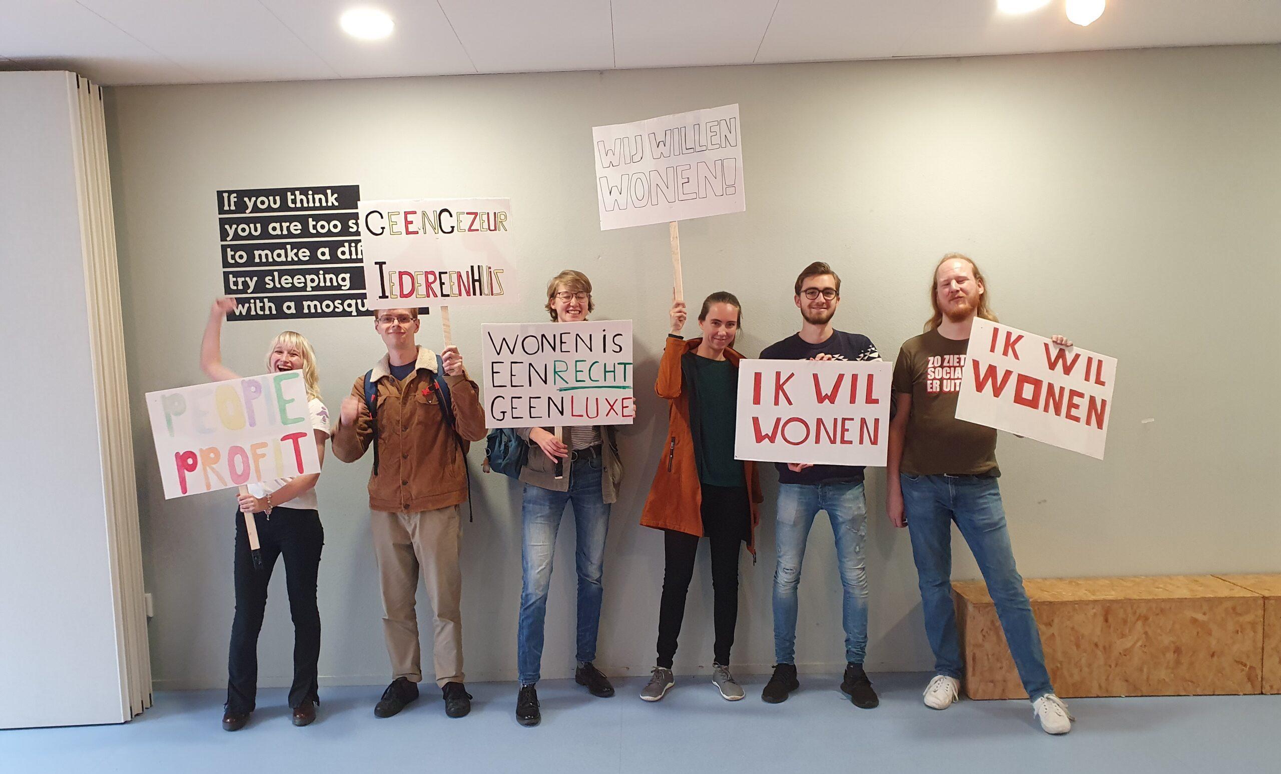 Wageningse studenten bij woonprotest